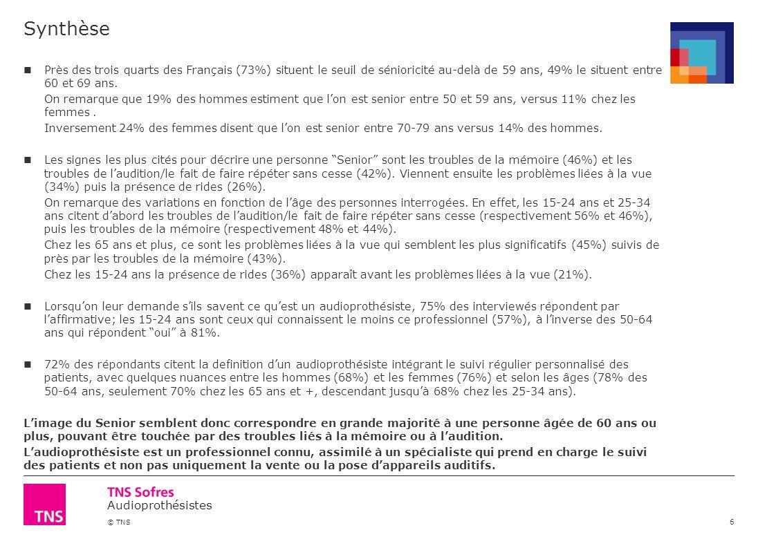 Synthèse Près des trois quarts des Français (73%) situent le seuil de sénioricité au-delà de 59 ans, 49% le situent entre 60 et 69 ans.