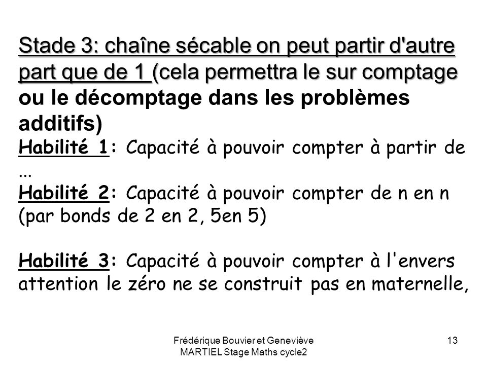 Frédérique Bouvier et Geneviève MARTIEL Stage Maths cycle2