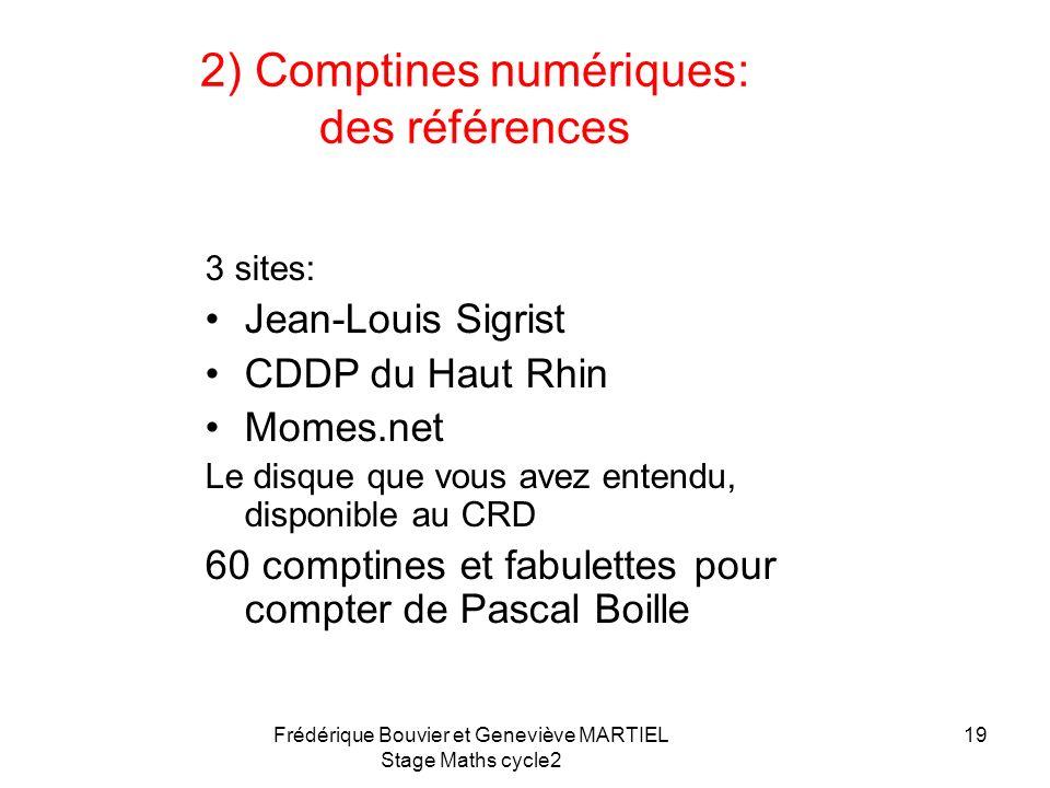 2) Comptines numériques: des références