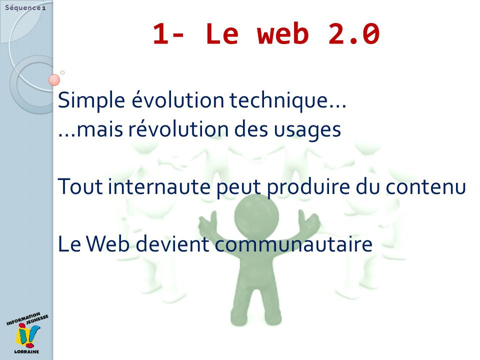 1- Le web 2.0 Simple évolution technique… …mais révolution des usages