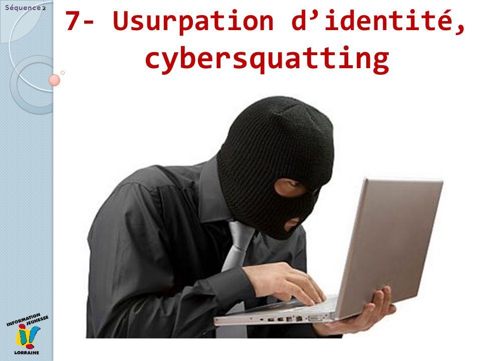 7- Usurpation d'identité, cybersquatting