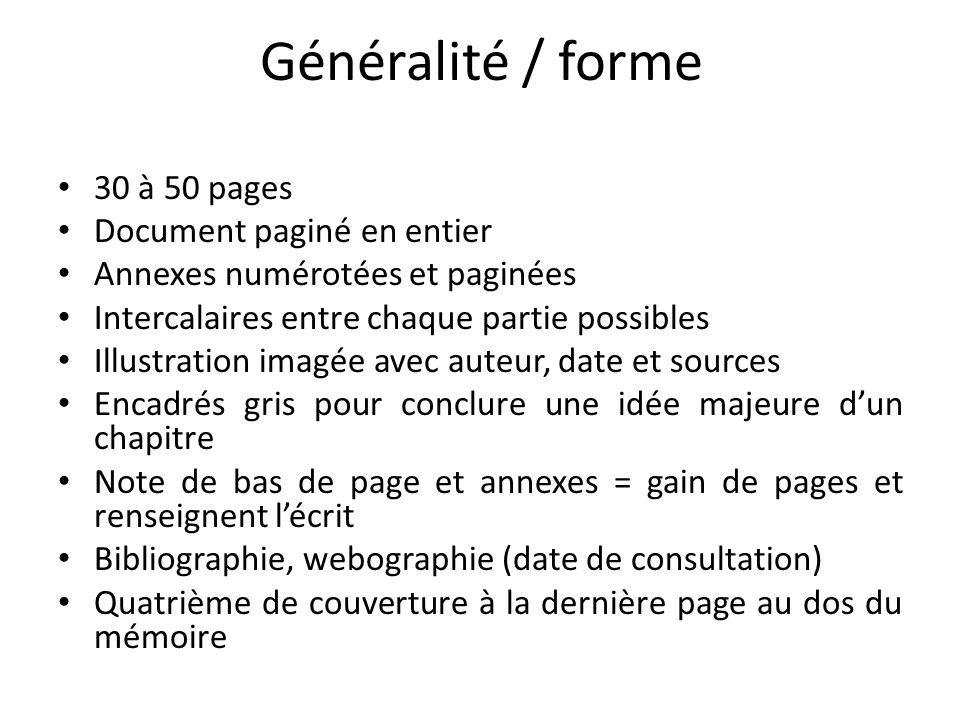 Généralité / forme 30 à 50 pages Document paginé en entier
