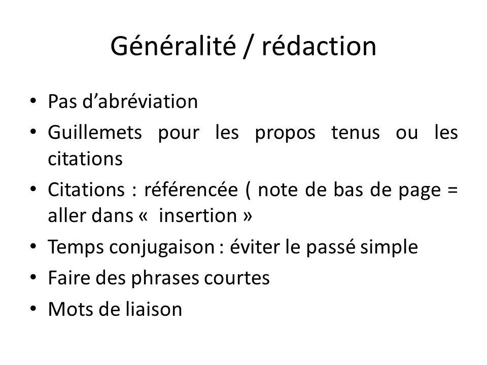 Généralité / rédaction