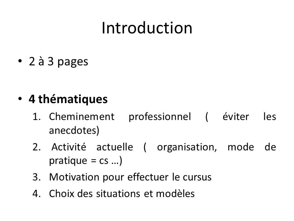 Introduction 2 à 3 pages 4 thématiques