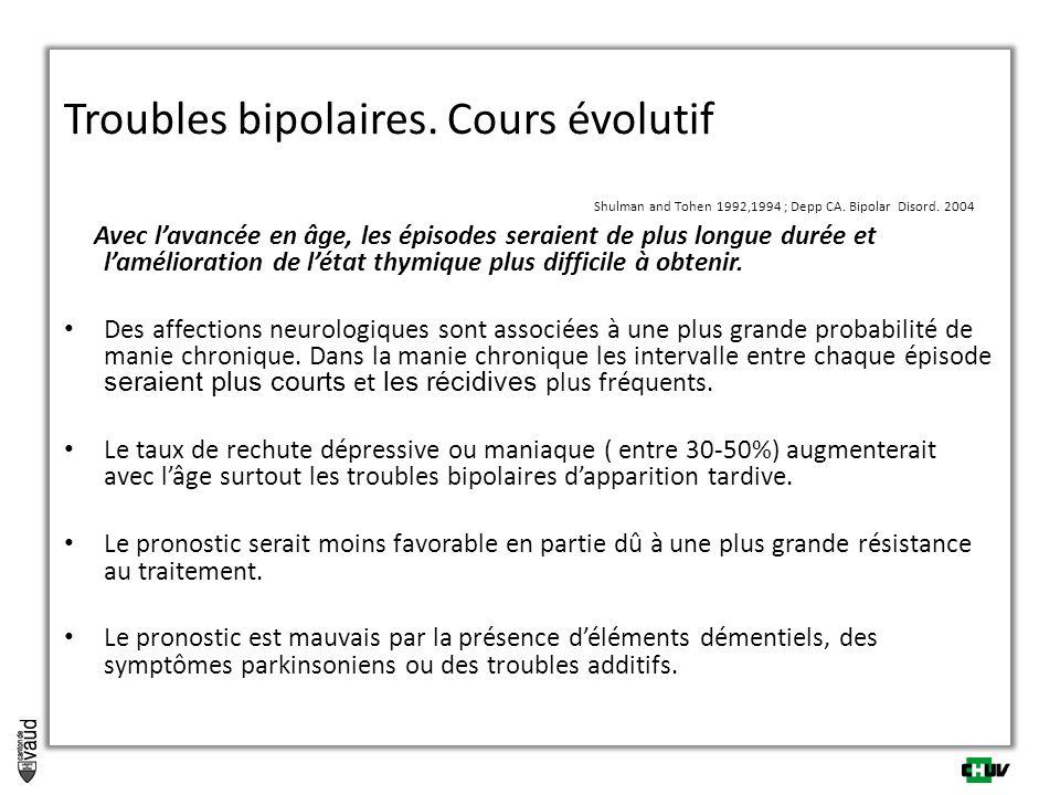 Troubles bipolaires. Cours évolutif