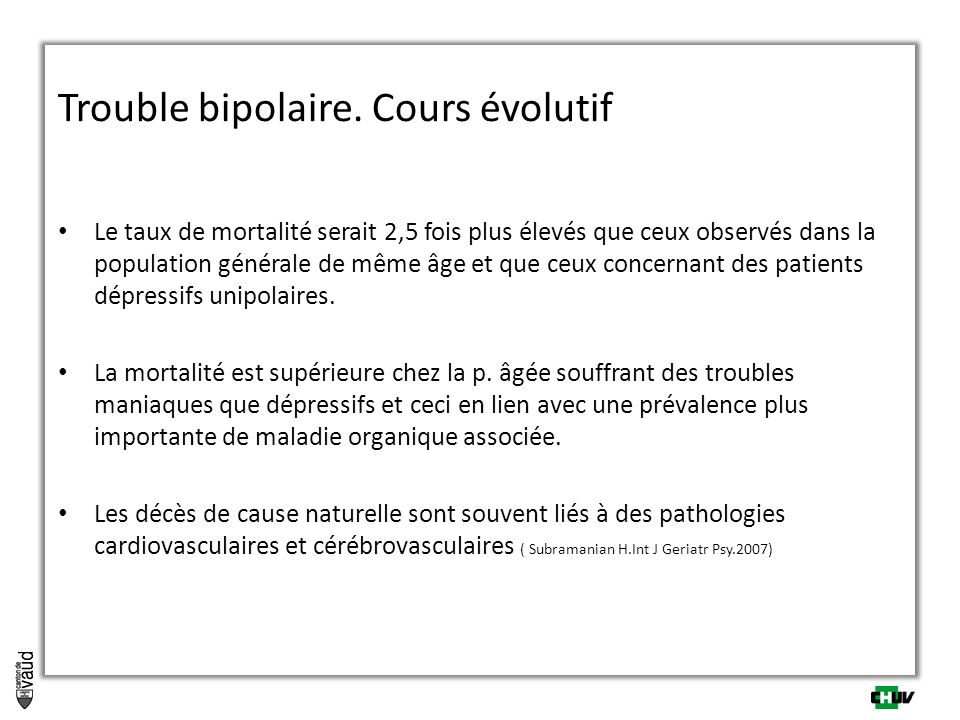Trouble bipolaire. Cours évolutif