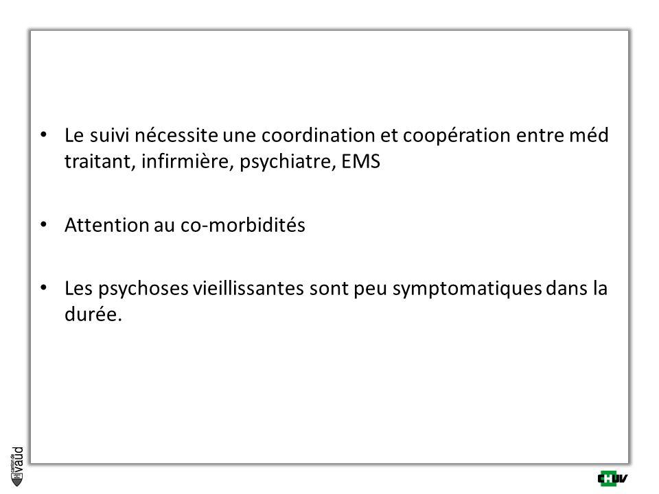 Le suivi nécessite une coordination et coopération entre méd traitant, infirmière, psychiatre, EMS