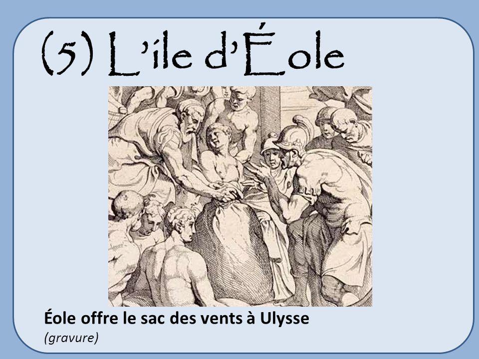 (5) L'ile d'Éole Éole offre le sac des vents à Ulysse (gravure)