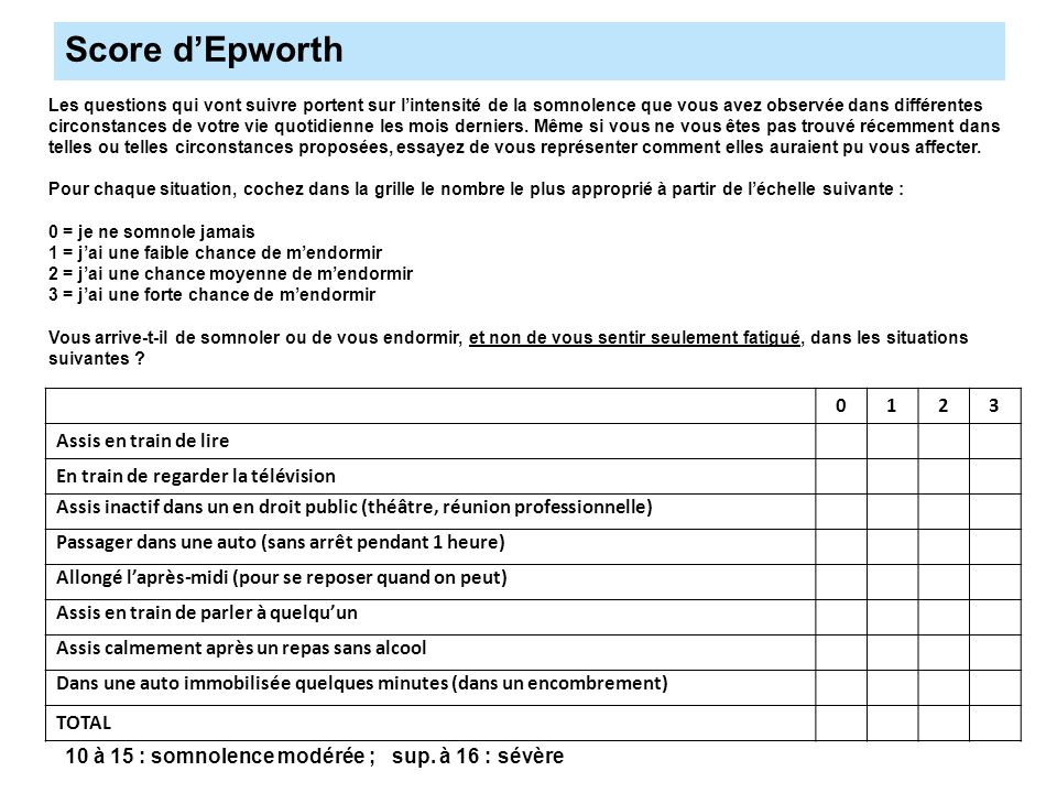 Score d'Epworth 1 2 3 Assis en train de lire
