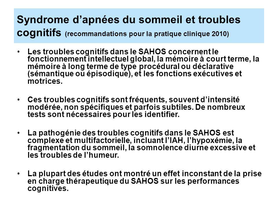 Syndrome d'apnées du sommeil et troubles cognitifs (recommandations pour la pratique clinique 2010)