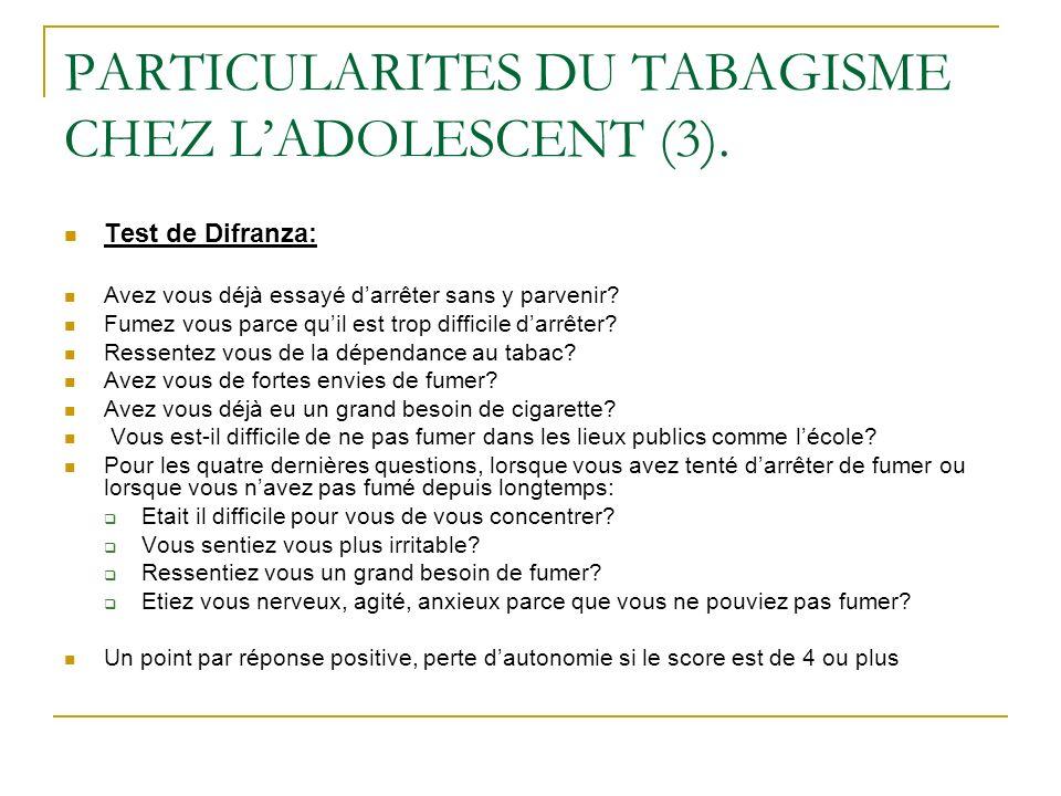 PARTICULARITES DU TABAGISME CHEZ L'ADOLESCENT (3).