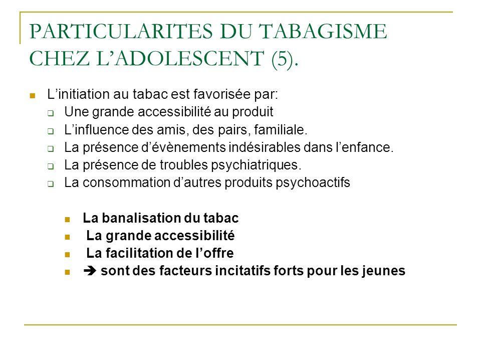 PARTICULARITES DU TABAGISME CHEZ L'ADOLESCENT (5).