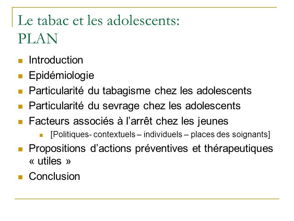Le tabac et les adolescents: PLAN
