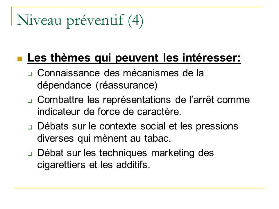 Niveau préventif (4) Les thèmes qui peuvent les intéresser:
