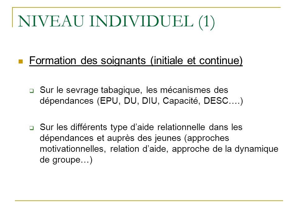 NIVEAU INDIVIDUEL (1) Formation des soignants (initiale et continue)