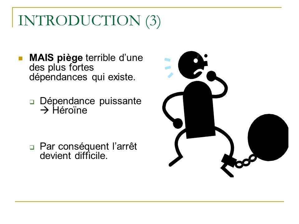 INTRODUCTION (3) MAIS piège terrible d'une des plus fortes dépendances qui existe. Dépendance puissante  Héroïne.