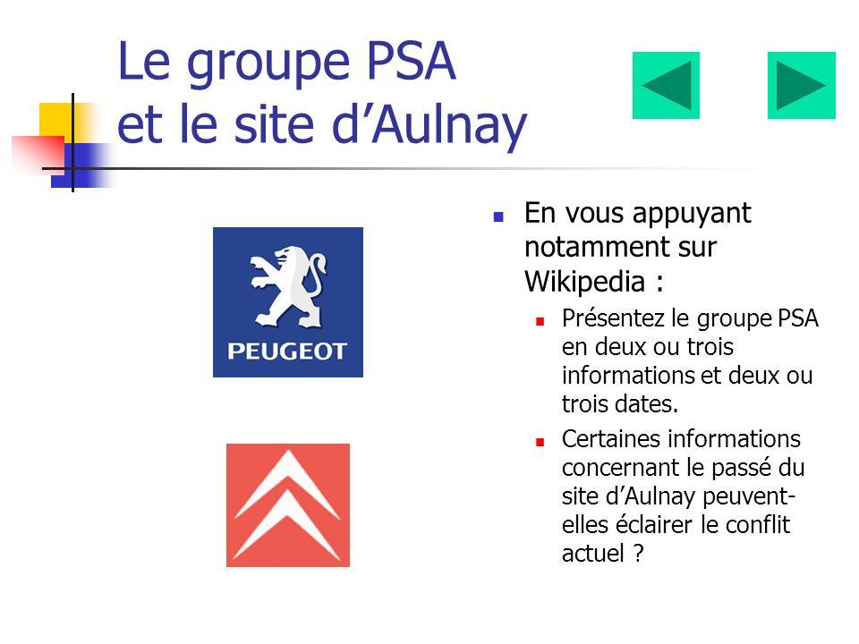 Le groupe PSA et le site d'Aulnay