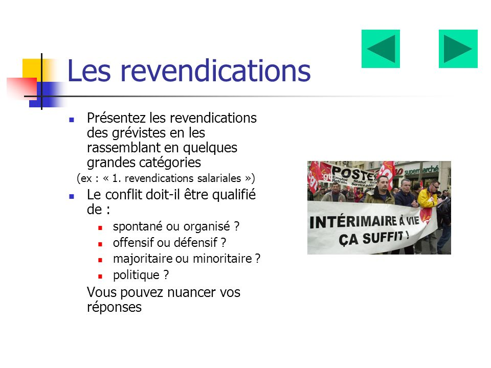 (ex : « 1. revendications salariales »)