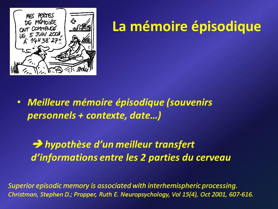 La mémoire épisodique Meilleure mémoire épisodique (souvenirs personnels + contexte, date…)