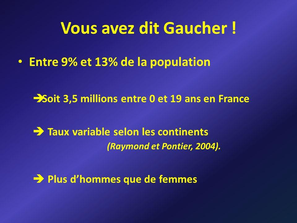 Vous avez dit Gaucher ! Entre 9% et 13% de la population