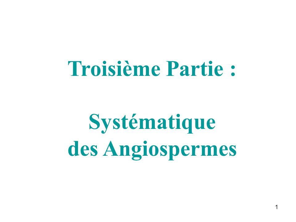 Troisième Partie : Systématique des Angiospermes