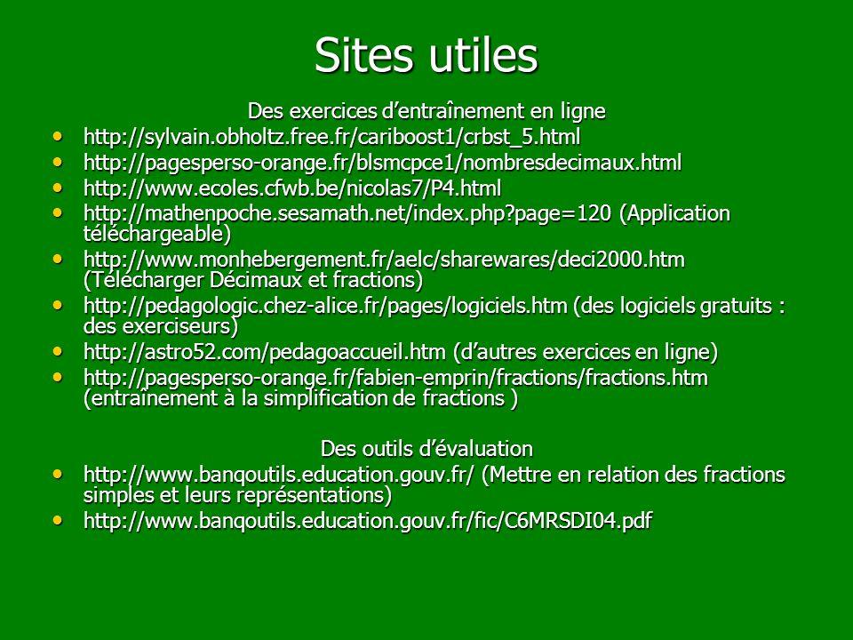 Sites utiles Des exercices d'entraînement en ligne