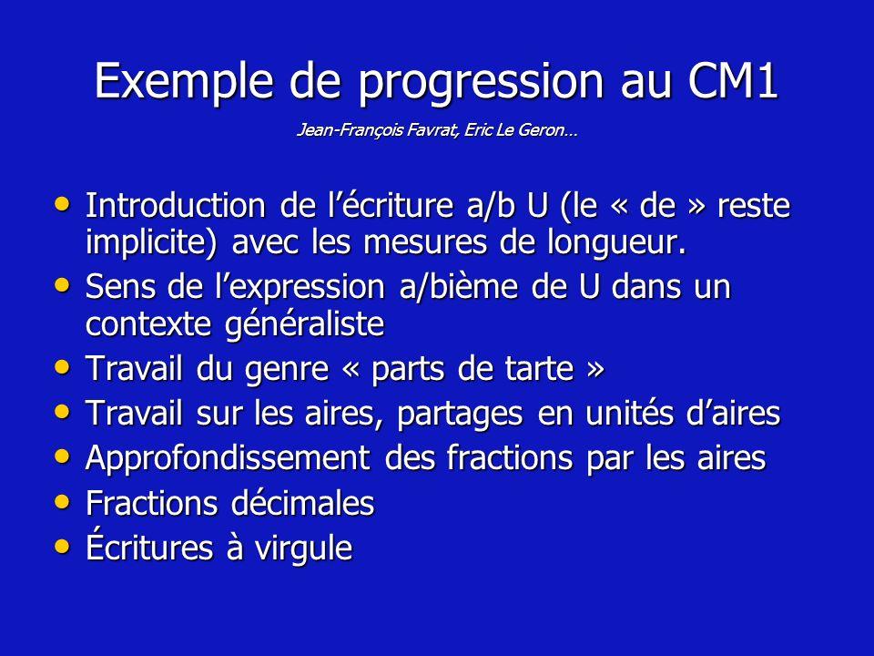Exemple de progression au CM1 Jean-François Favrat, Eric Le Geron…