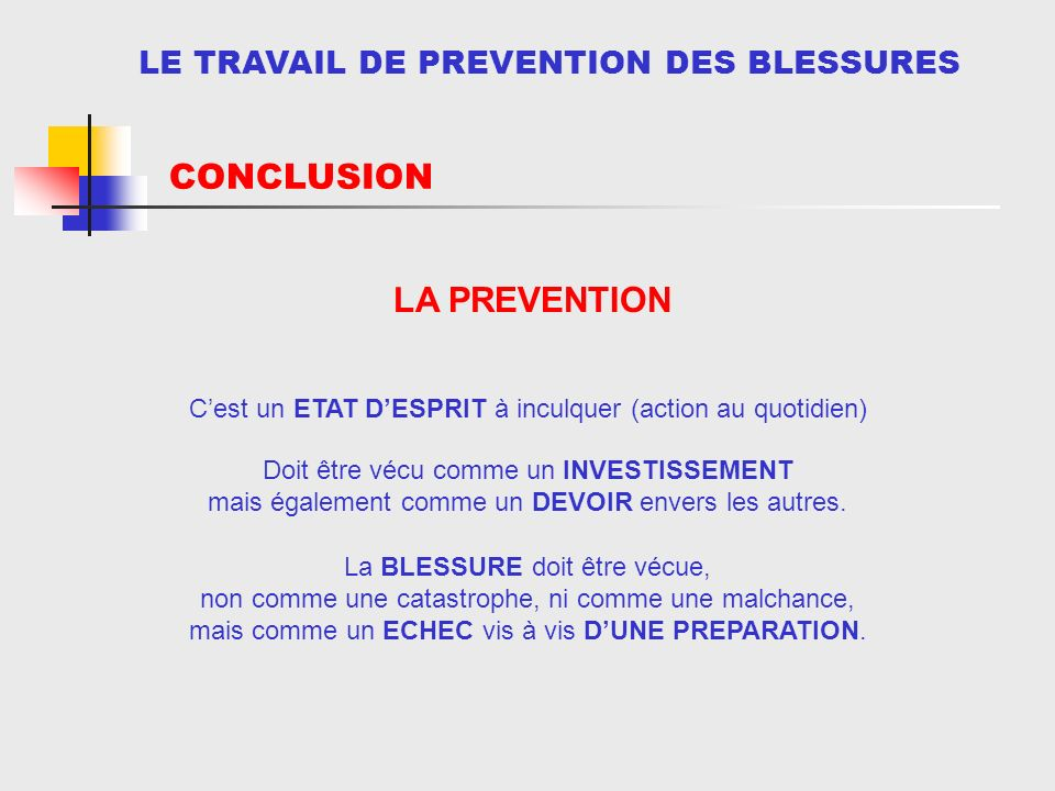 CONCLUSION DEMARCHE PERSONNELLE LA PREVENTION