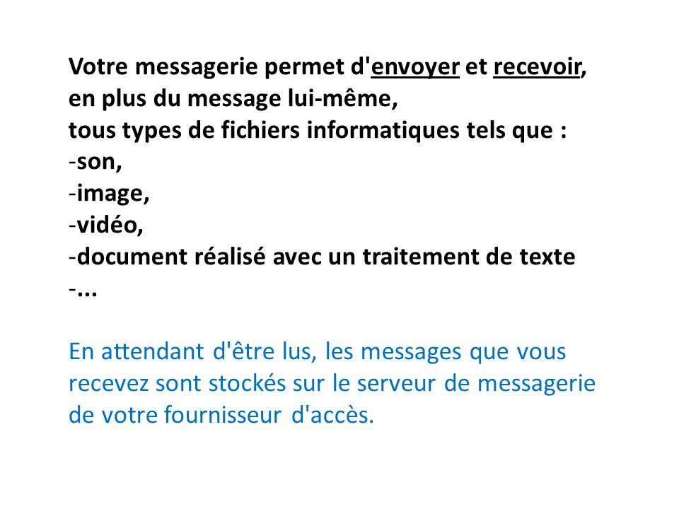 Votre messagerie permet d envoyer et recevoir, en plus du message lui-même,