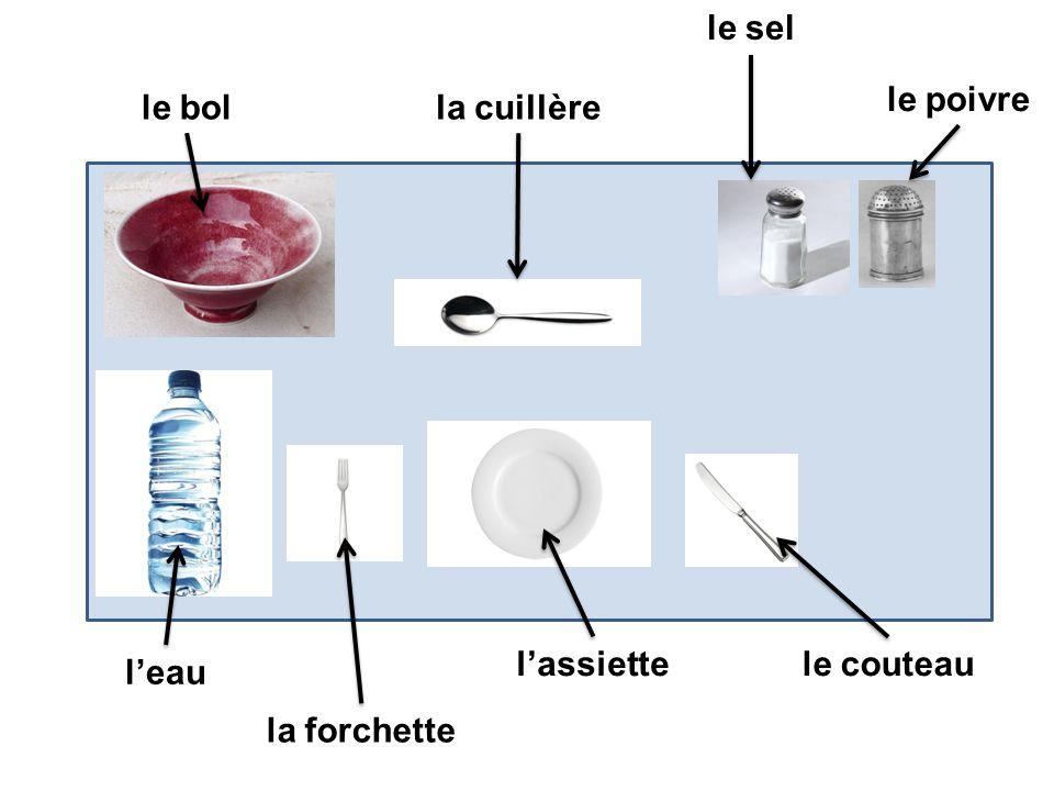 le sel le poivre le bol la cuillère l'assiette le couteau l'eau la forchette