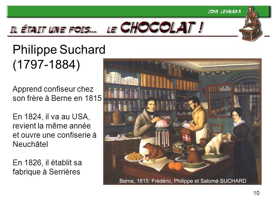 Philippe Suchard (1797-1884) Apprend confiseur chez son frère à Berne en 1815 En 1824, il va au USA, revient la même année et ouvre une confiserie à Neuchâtel En 1826, il établit sa fabrique à Serrières