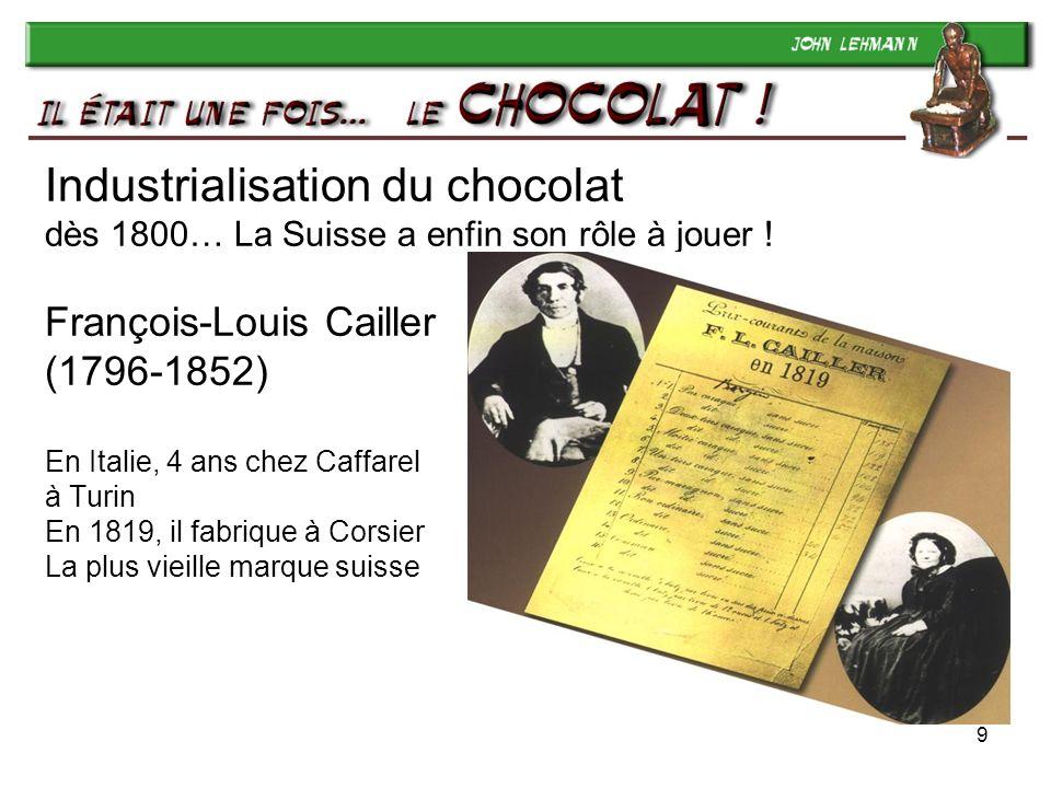 Industrialisation du chocolat dès 1800… La Suisse a enfin son rôle à jouer ! François-Louis Cailler (1796-1852) En Italie, 4 ans chez Caffarel à Turin En 1819, il fabrique à Corsier La plus vieille marque suisse