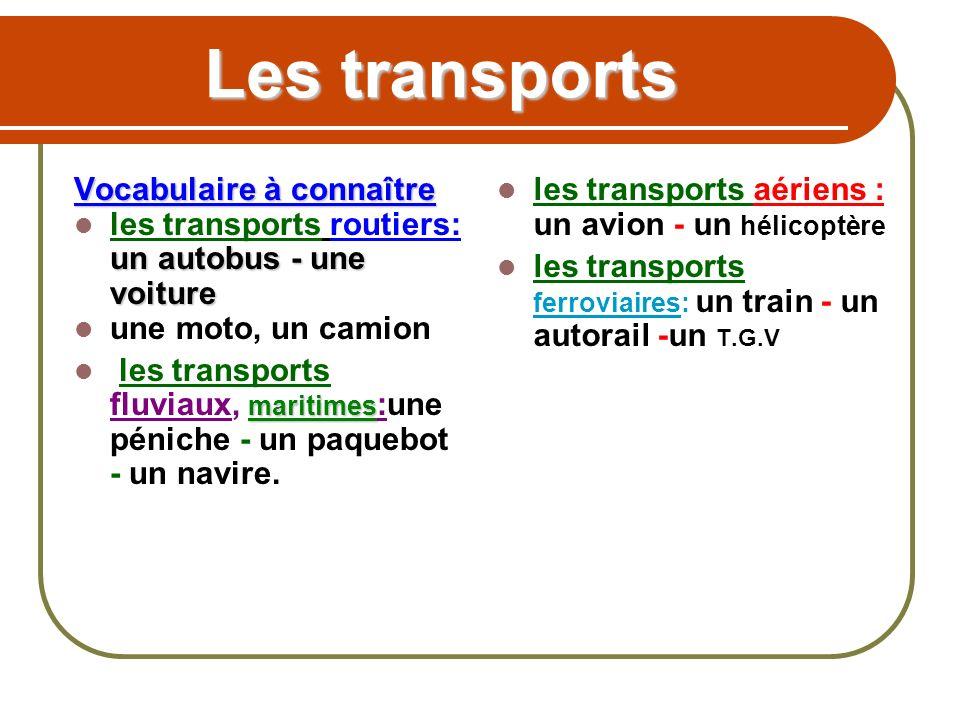 Les transports Vocabulaire à connaître