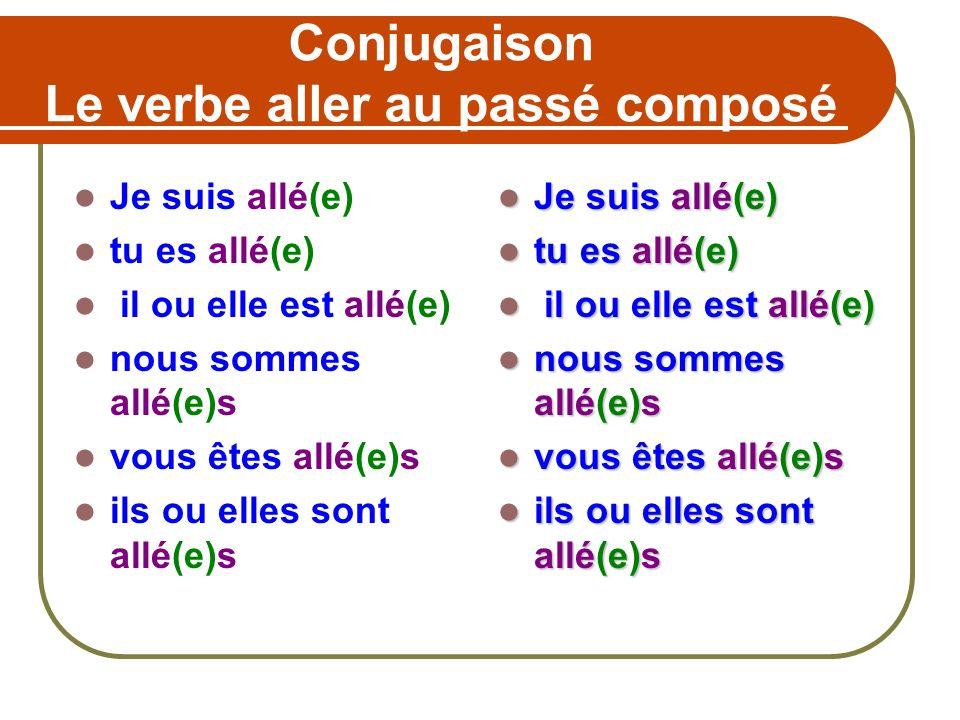 Conjugaison Le verbe aller au passé composé