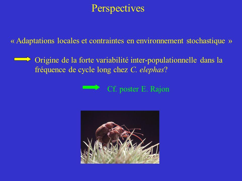 Perspectives « Adaptations locales et contraintes en environnement stochastique » Origine de la forte variabilité inter-populationnelle dans la.