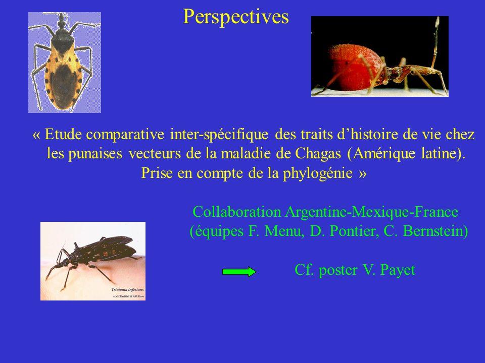 Perspectives « Etude comparative inter-spécifique des traits d'histoire de vie chez.