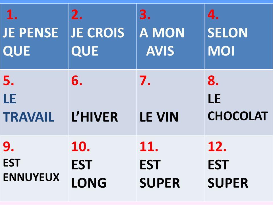 1. JE PENSE QUE 2. JE CROIS 3. A MON AVIS 4. SELON MOI 5. LE TRAVAIL