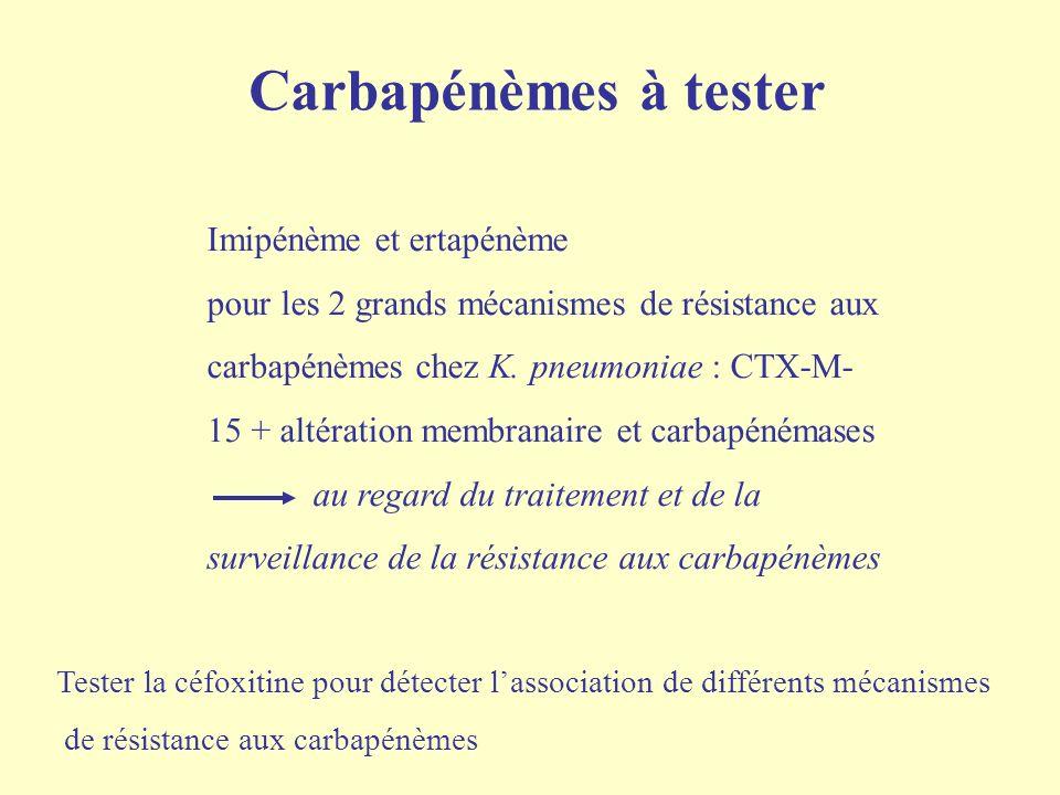 Carbapénèmes à tester Imipénème et ertapénème