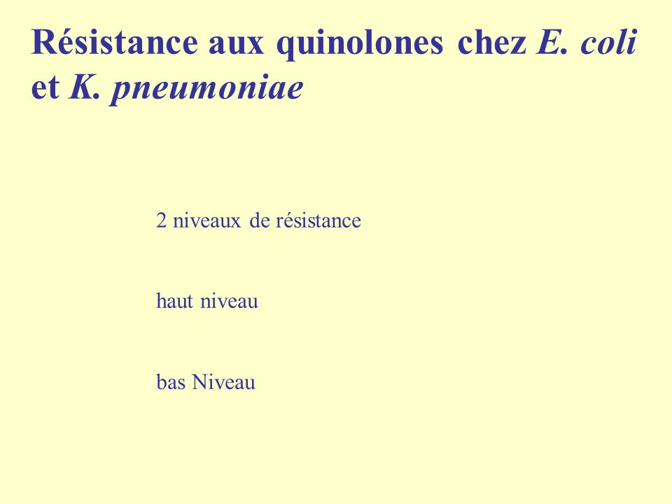 Résistance aux quinolones chez E. coli et K. pneumoniae