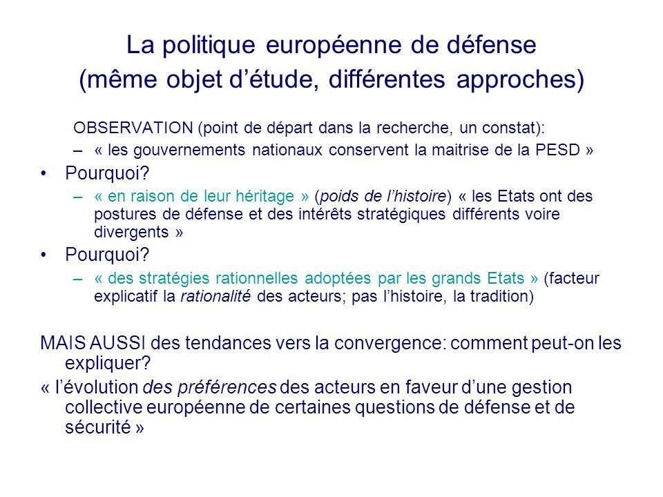 La politique européenne de défense (même objet d'étude, différentes approches)