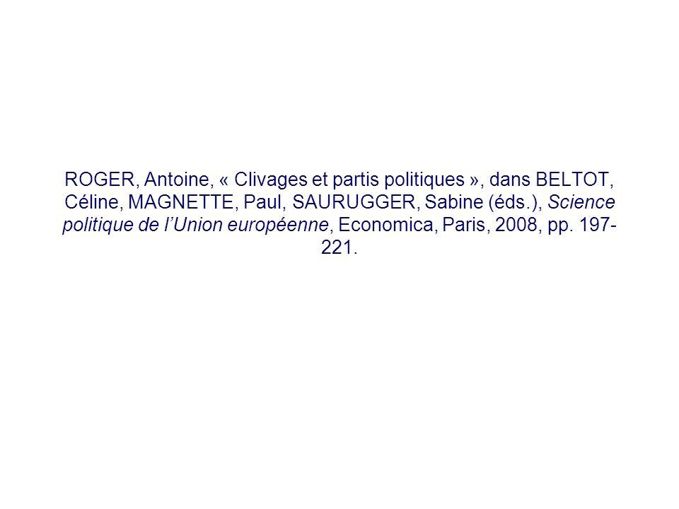 ROGER, Antoine, « Clivages et partis politiques », dans BELTOT, Céline, MAGNETTE, Paul, SAURUGGER, Sabine (éds.), Science politique de l'Union européenne, Economica, Paris, 2008, pp.