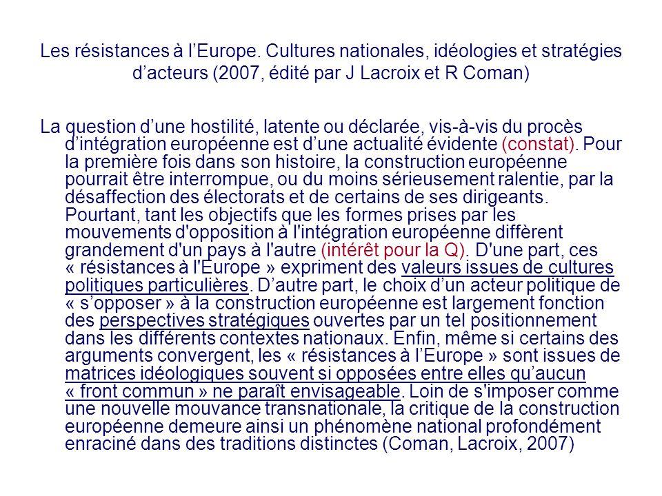 Les résistances à l'Europe