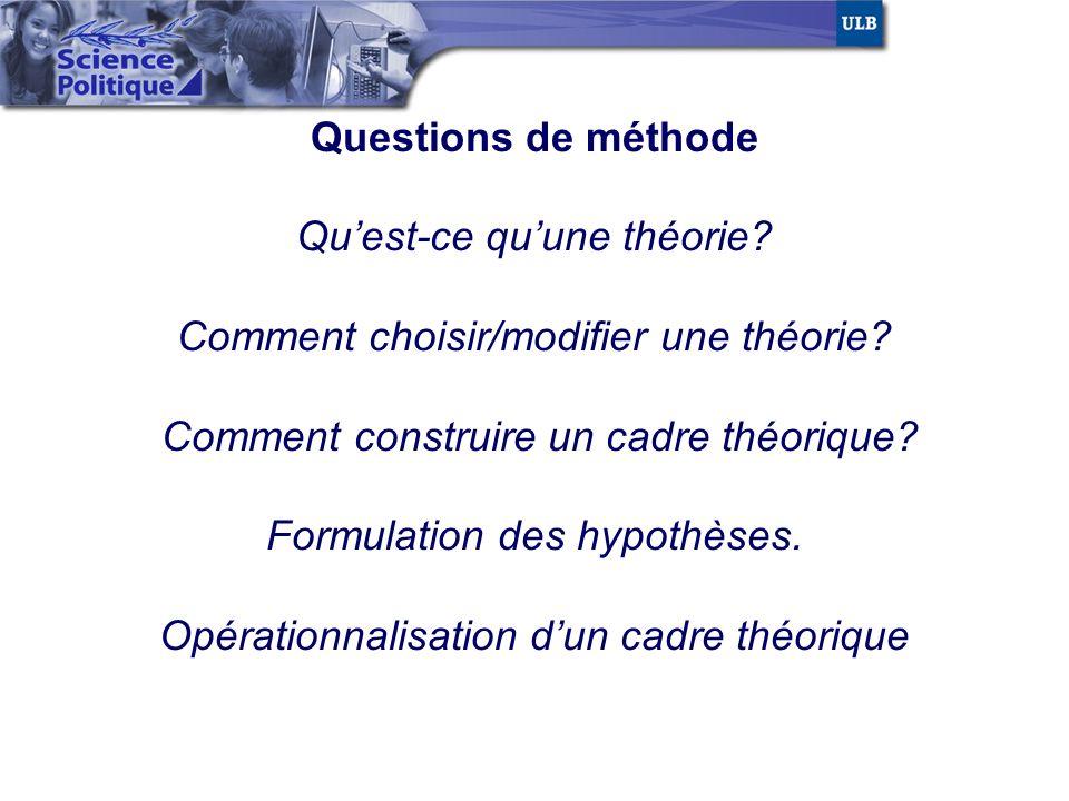 Questions de méthode Qu'est-ce qu'une théorie