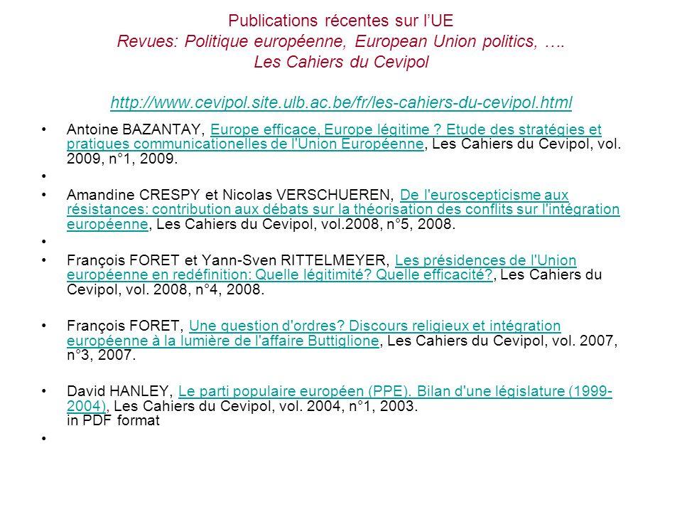 Publications récentes sur l'UE Revues: Politique européenne, European Union politics, …. Les Cahiers du Cevipol http://www.cevipol.site.ulb.ac.be/fr/les-cahiers-du-cevipol.html