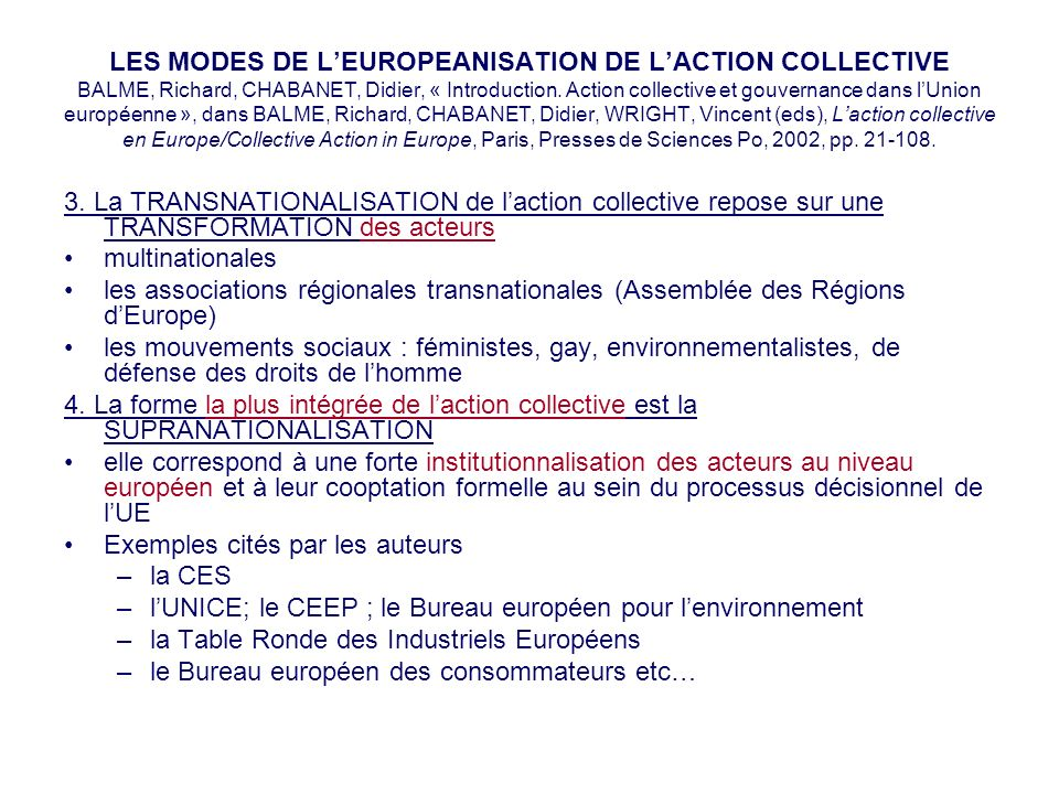 LES MODES DE L'EUROPEANISATION DE L'ACTION COLLECTIVE BALME, Richard, CHABANET, Didier, « Introduction. Action collective et gouvernance dans l'Union européenne », dans BALME, Richard, CHABANET, Didier, WRIGHT, Vincent (eds), L'action collective en Europe/Collective Action in Europe, Paris, Presses de Sciences Po, 2002, pp. 21-108.