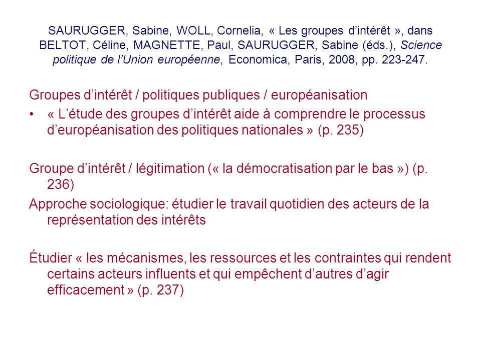 Groupes d'intérêt / politiques publiques / européanisation