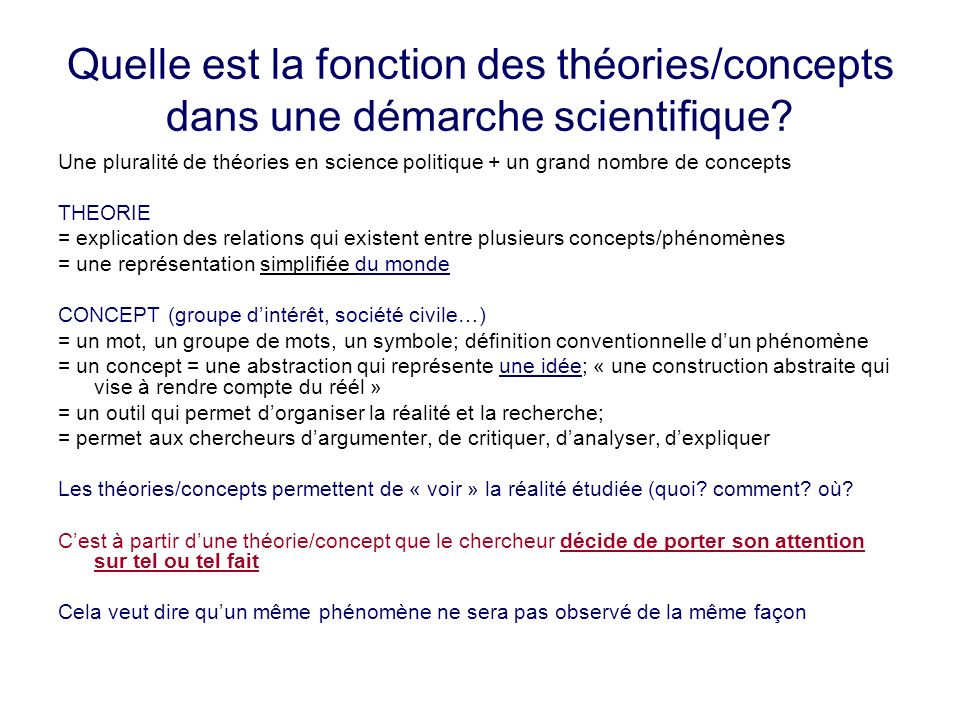 Quelle est la fonction des théories/concepts dans une démarche scientifique