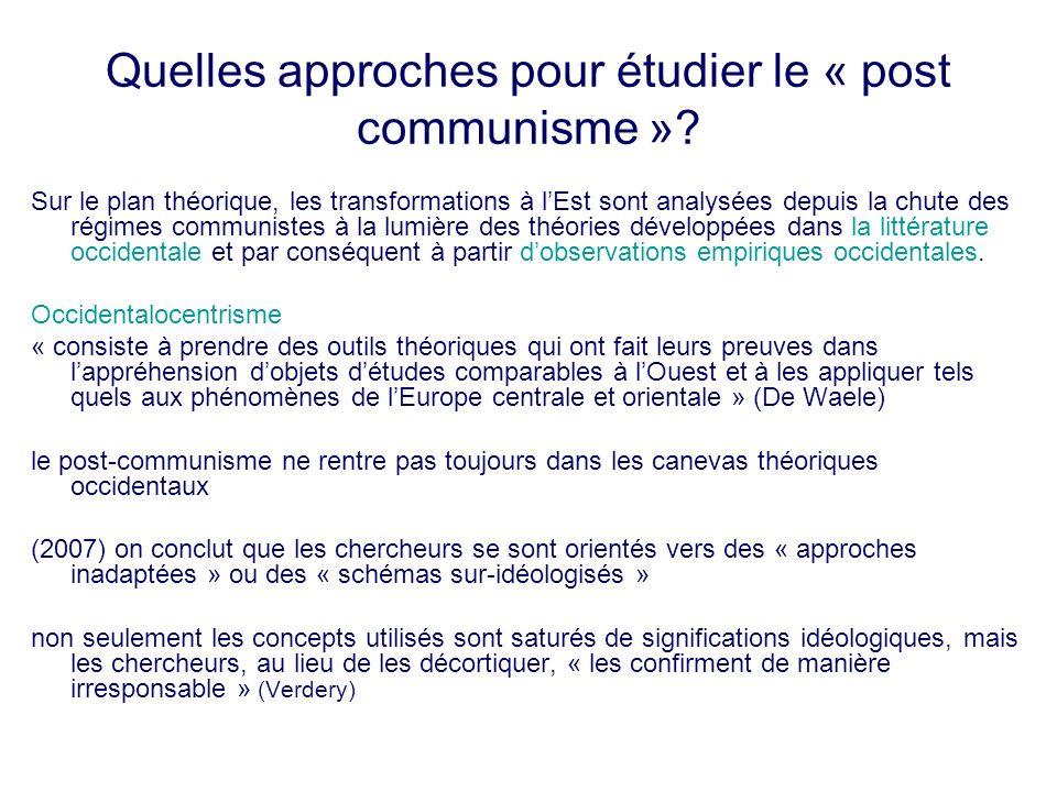 Quelles approches pour étudier le « post communisme »