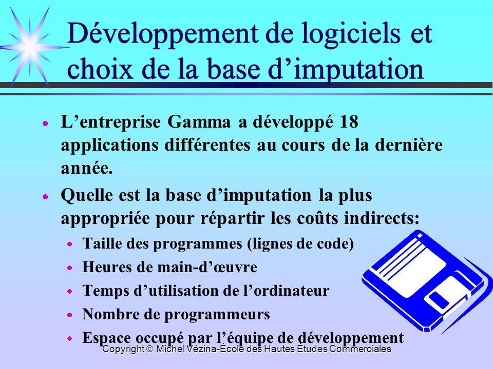Développement de logiciels et choix de la base d'imputation