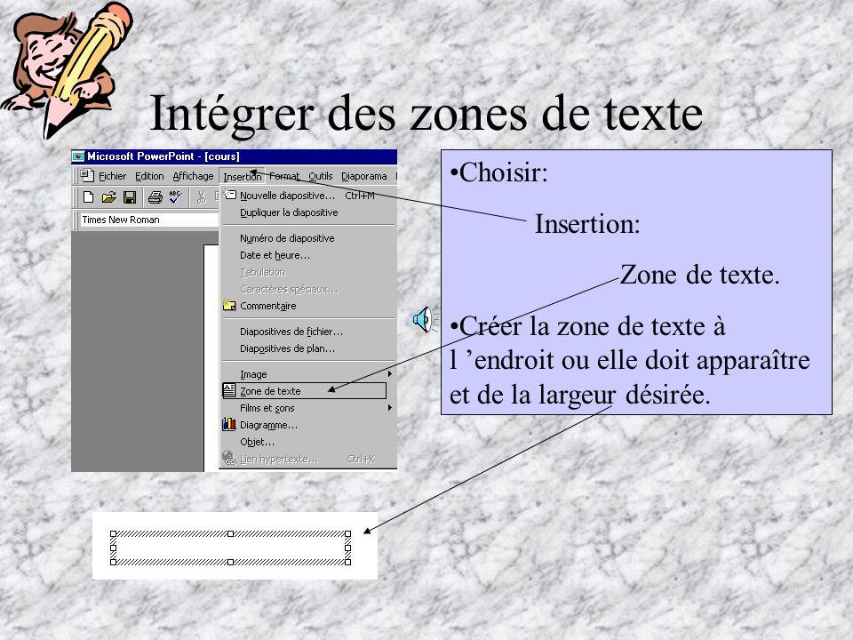Intégrer des zones de texte